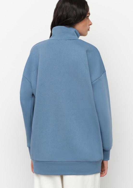 Jeans colour sweatshirt with zipper
