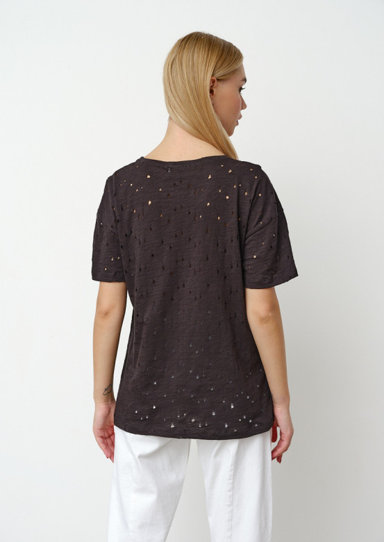 Black T-shirt with perforations
