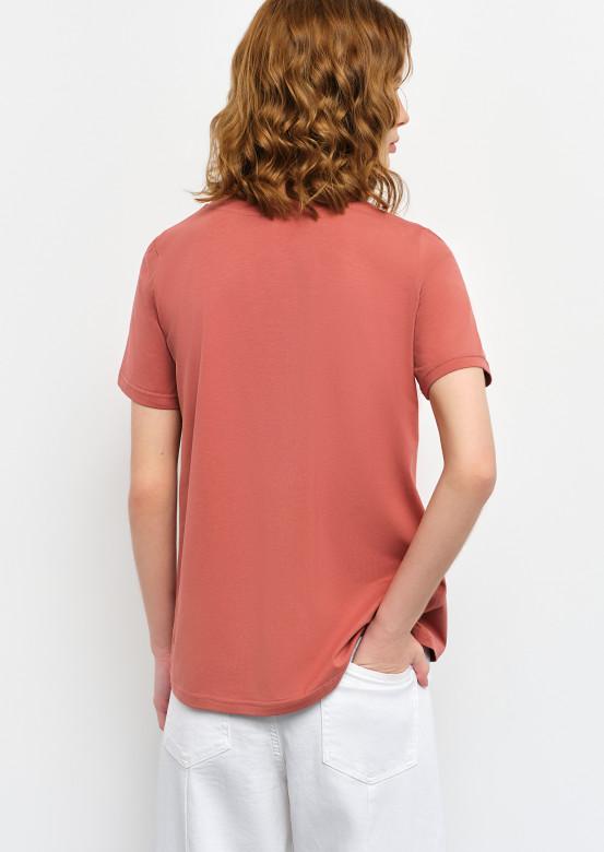 "Dark rose T-shirt with ""wineglass"" print"