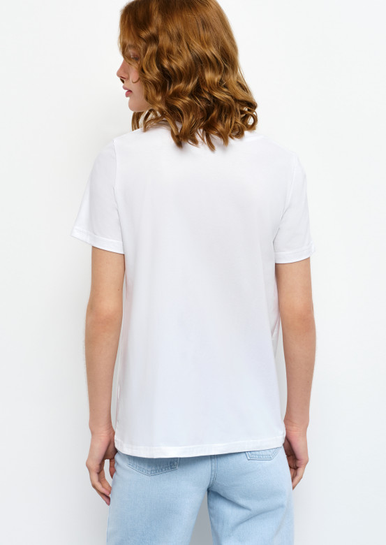 """White T-shirt with """"cup"""" print"""