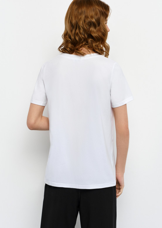 """White T-shirt with """"wineglass"""" print"""