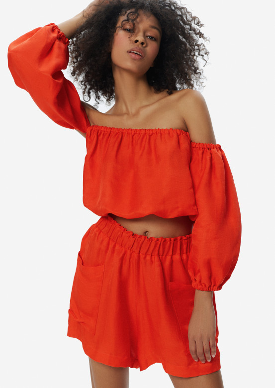 Linen Bora-Bora blouse orange colour