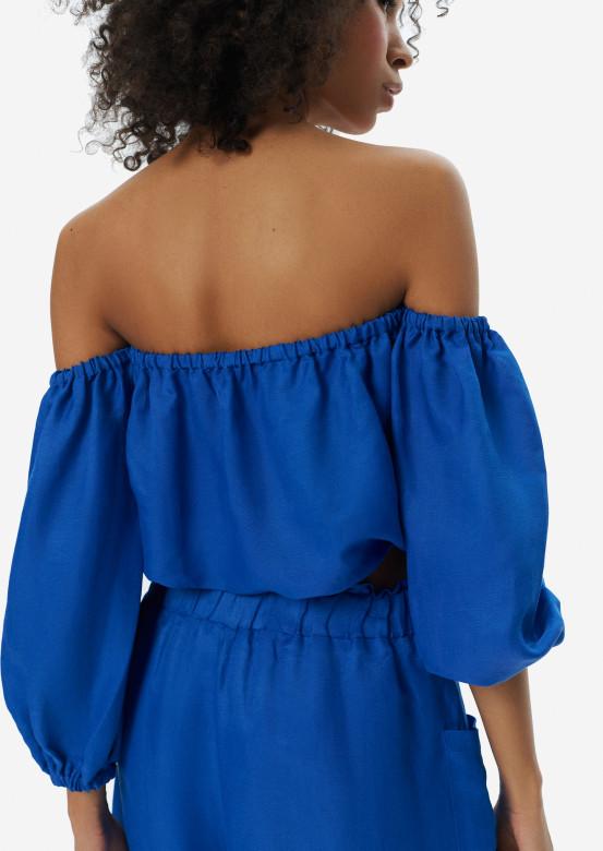 Linen Bora-Bora blouse electric colour