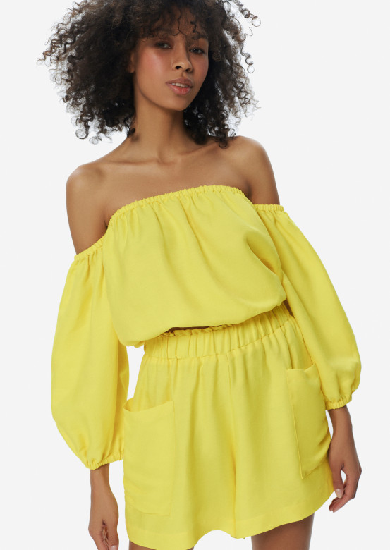 Linen Bora-Bora blouse sun colour