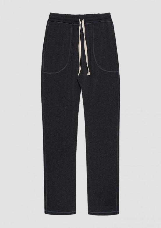 Dark grey melange colour men trousers with pockets