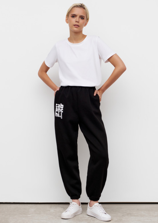Black colour footer trousers with Cabanchi.com print