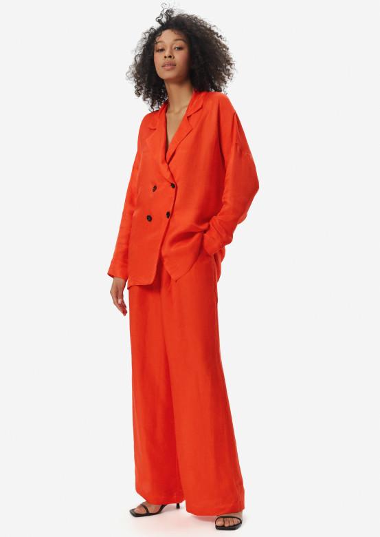 Linen wide pants orange colour