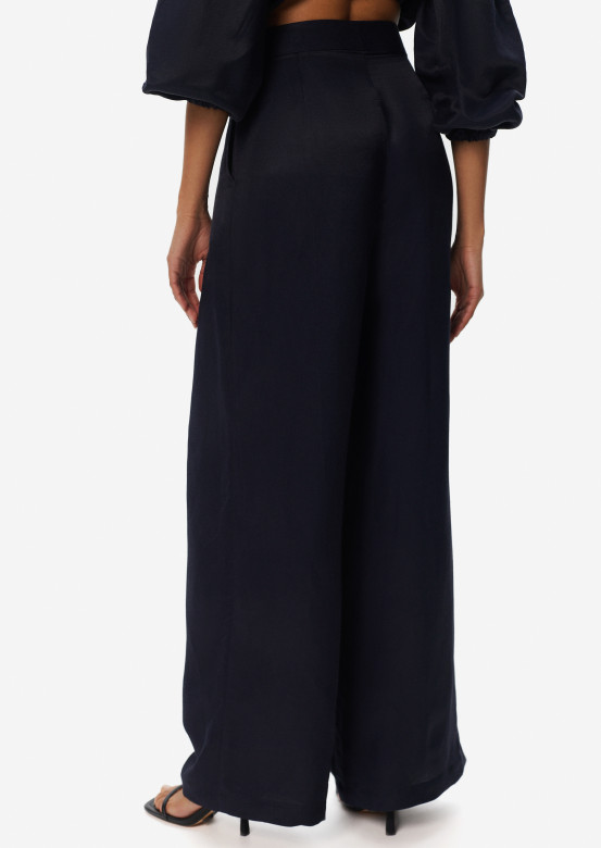 Linen wide pants dark blue colour