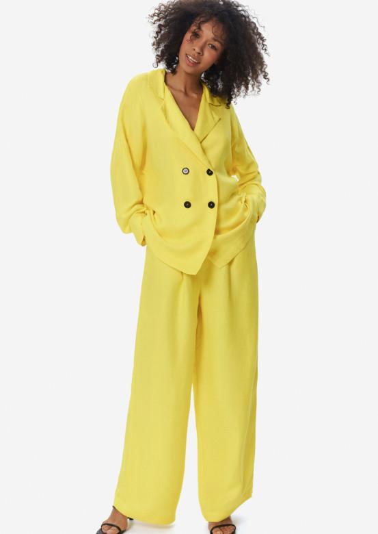 Linen wide pants sun colour