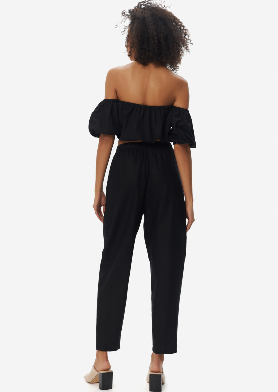 Black linen pleated front trousers