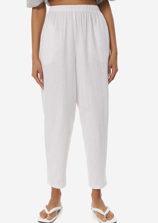 Coconut milk colour linen pleated front trousers