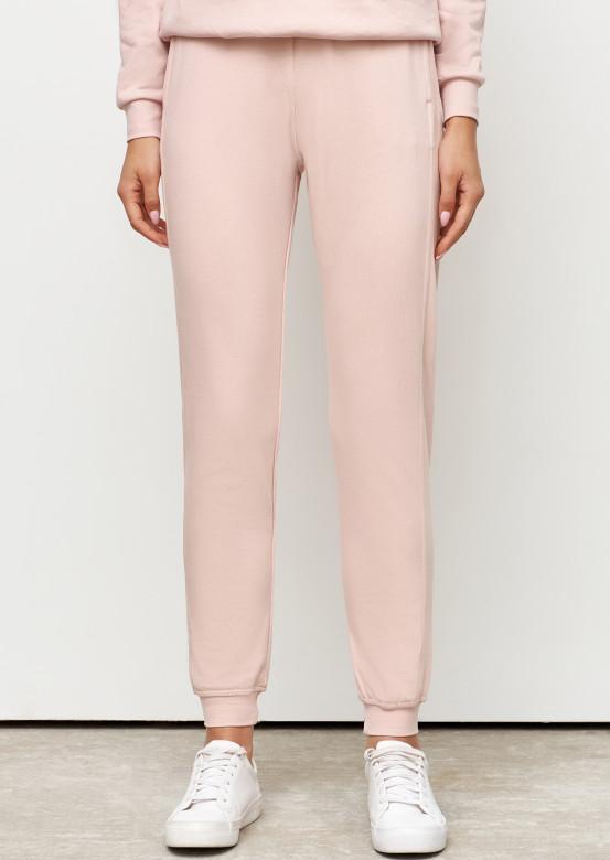 Powdery women basic three-thread trousers