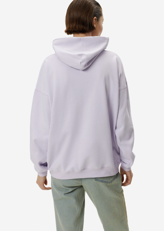 Lavender three-thread hoodie with a hood