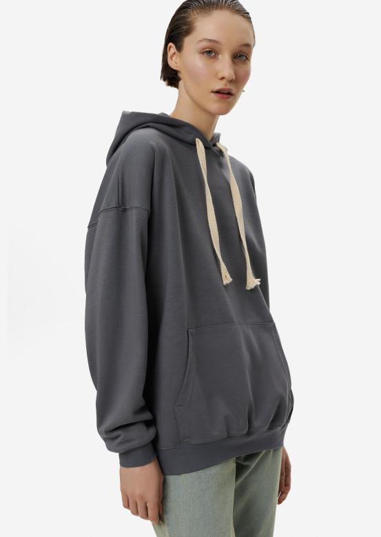 Grey three-thread hoodie with a hood