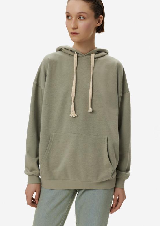 Light khaki three-thread hoodie with a hood