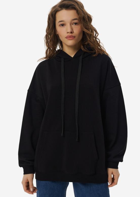Black three-thread hoodie with a hood