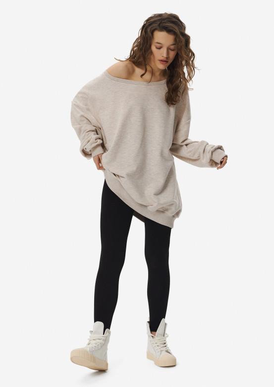 Beige melange mega oversize three-thread sweatshirt
