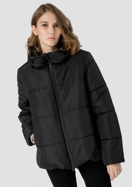 Black puffer coat with a hood