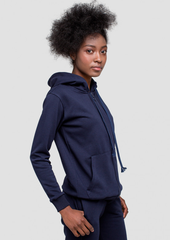 Blue off-season suit with zip and a hood