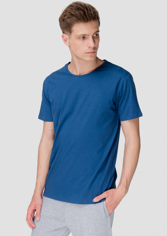 Dark blue men basic T-shirt
