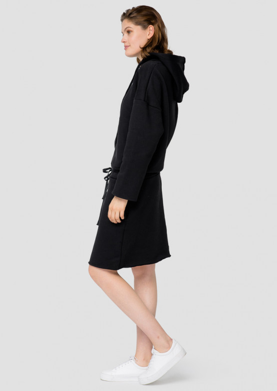 Black footer hoodie-dress with a hood