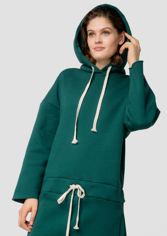 Green footer hoodie-dress with a hood