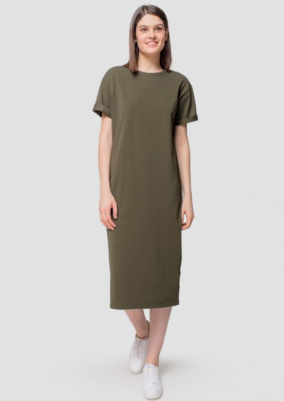 Khaki long T-shirt dress