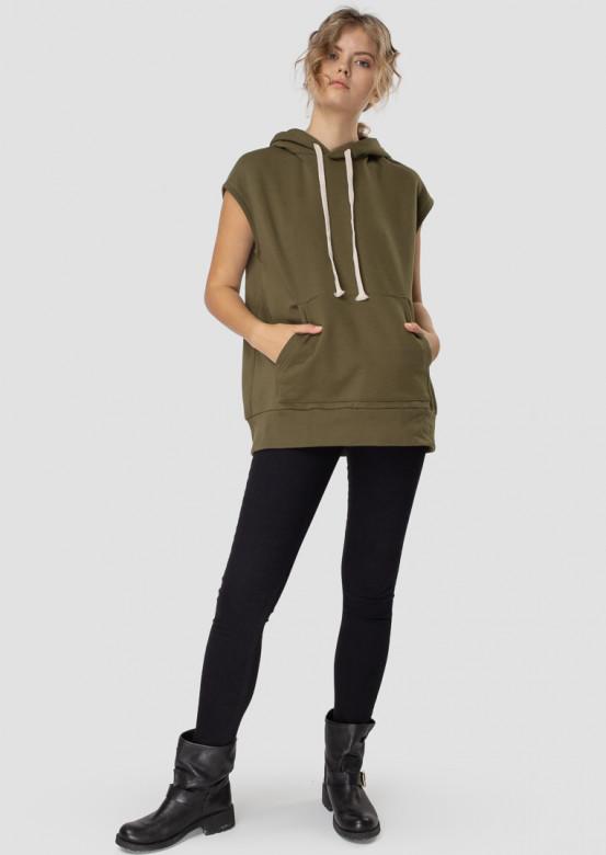 Khaki sleeveless hoodie with a hood