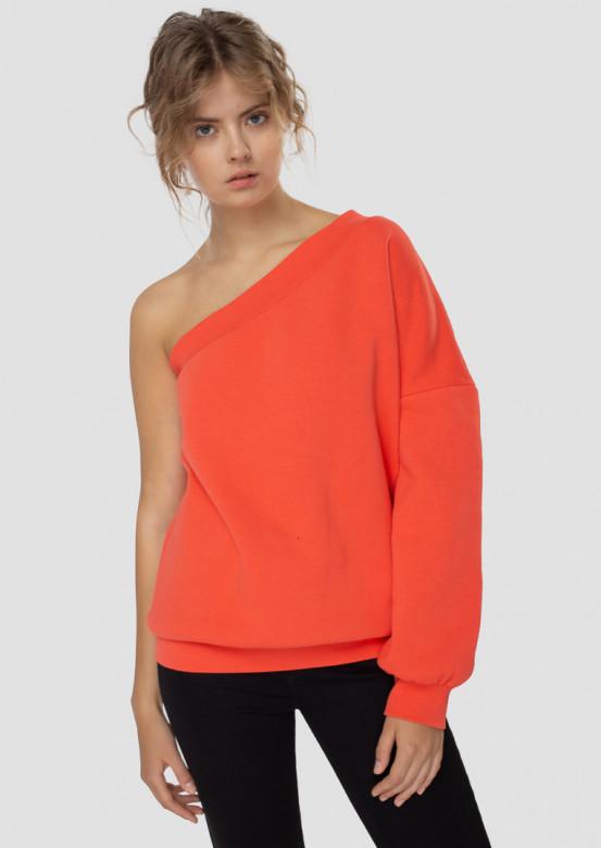 Coral one-shoulder footer sweatshirt