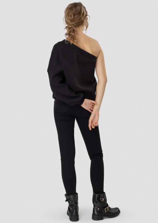 Black one-shoulder footer sweatshirt