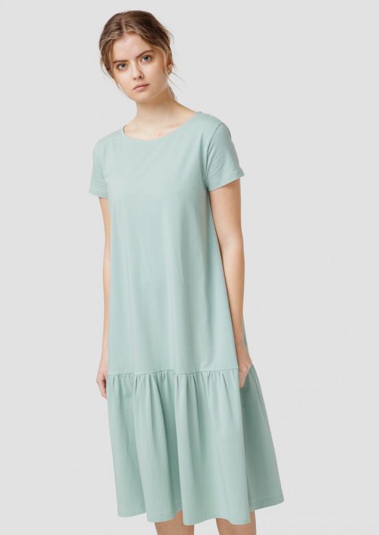 Olive dress with a flounce