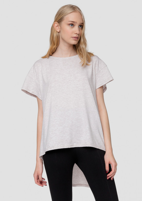 Beige melange T-shirt with tail