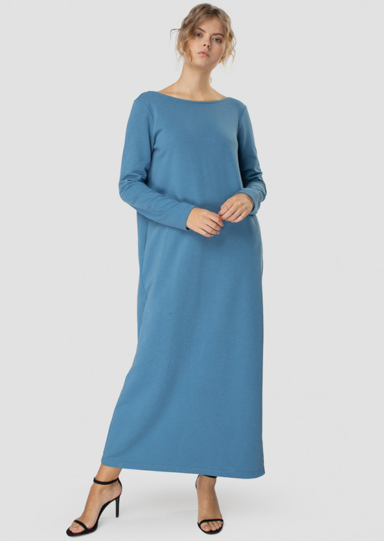 Long jeans color dress with an open back