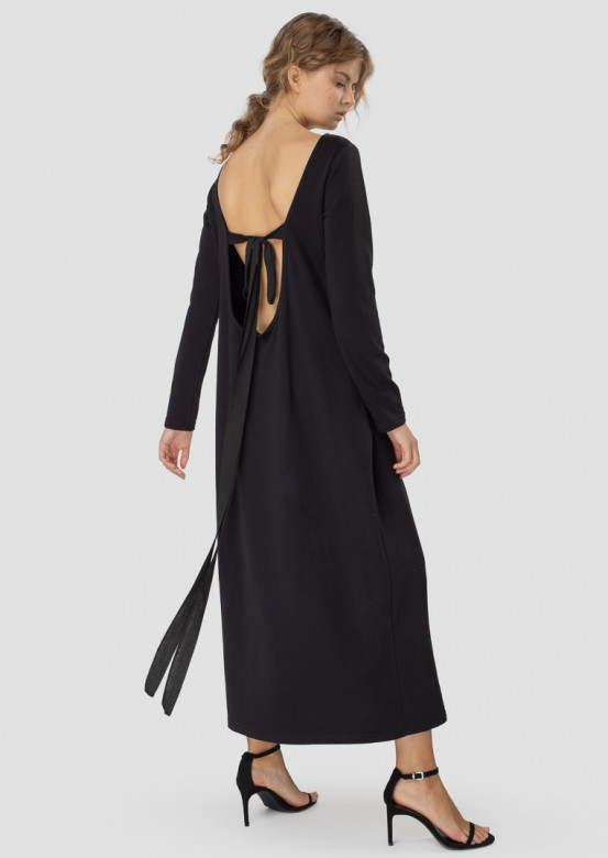 Long black dress with an open back