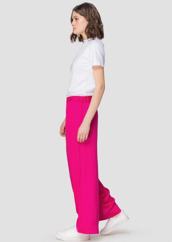 Crimson wide-leg viscose trousers